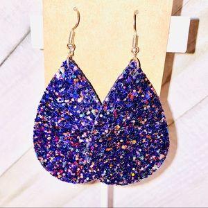 Purple Glitter Vegan Leather Teardrop Earrings